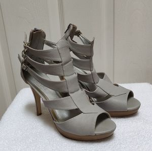 Grey wrapped ankle heels